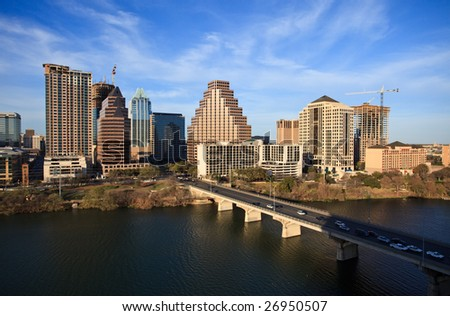 a nice clear day by the lake in downtown Austin Texas - stock photo