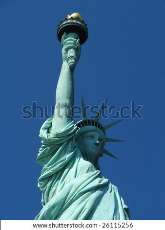 A nice closeup shot of the statue of liberty - stock photo