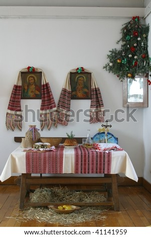 A nice dining table set for Christmas dinner in old countryhouse, central Europe -Croatia - stock photo