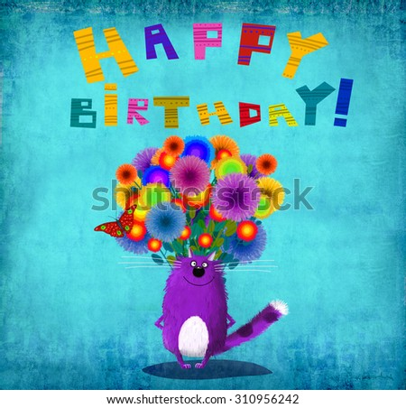 Nice Happy Birthday Card Violet Smiling Illustration – Nice Happy Birthday Cards