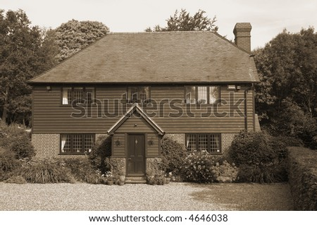 A nice home in the countryside, sepia toned