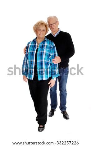 A nice mature couple couple standing isolated for white background, the man behind the wife.  - stock photo