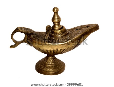 A nice old oil lamp made of bronze. Includes clipping-path. - stock photo
