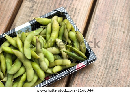 A nice plate of japanese style soy bean edamame - stock photo