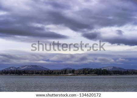 A nice view of Racoon Cove in the winter. - stock photo
