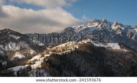 a nice view of talian alps, Seriana Valley. - stock photo