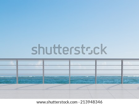A nice view of the sea from a hotel terrace - stock photo