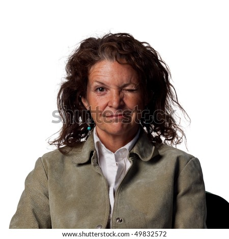 A nice wink from a middle aged woman - stock photo