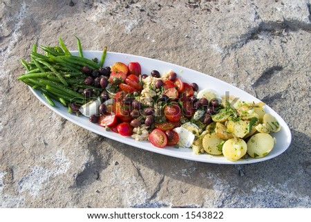 A nicely arranged Salad Nicoise on a large stone - stock photo