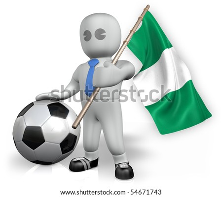 A Nigeria football fan with a ball and a flag - stock photo