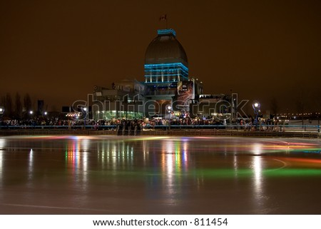 A night image of the Montreal Old Port skating rink - stock photo