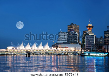 A night scene of Canada Place, Vancouver, BC, Canada - stock photo