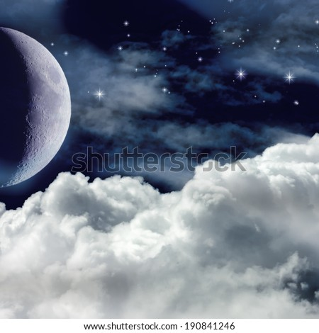 A Night Sky with Moon and Stars. Christmas Background. - stock photo
