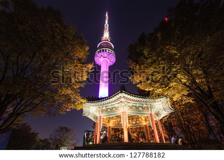 A night time shot of N Seoul tower - stock photo