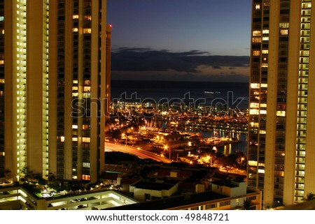 A night view in Honolulu city, Hawaii. - stock photo