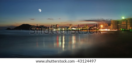A night view of china city from island - stock photo