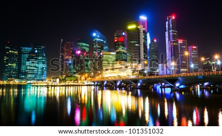A night view of downtown Singapore - stock photo