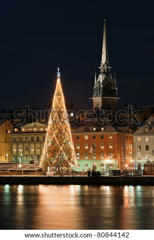 A night view of Stockholm old city with christmas tree, Stockholm, Sweden - stock photo