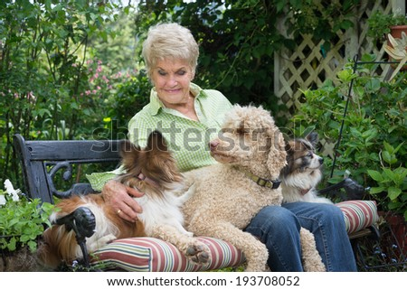 A ninety year-old elderly woman shares a garden bench and companionship with her three dogs.  - stock photo