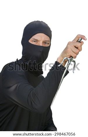 A ninja ready for action against a white background