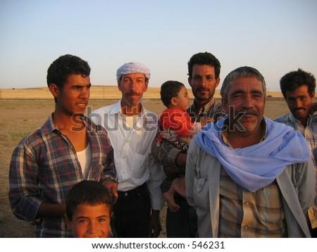 A nomadic arabian family - stock photo