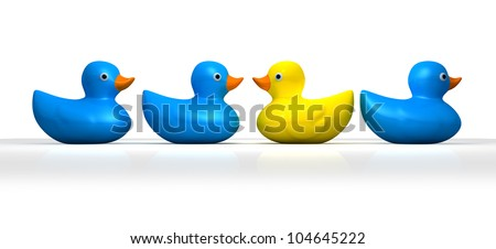 A non-conformist depiction of a yellow rubber bath duck swimming moving in a different direction to the other three blue ducks - stock photo
