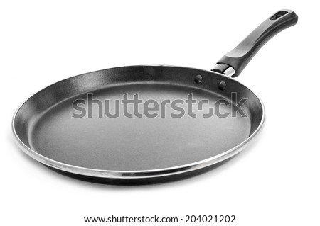a non-stick flat frying pan on a white background - stock photo