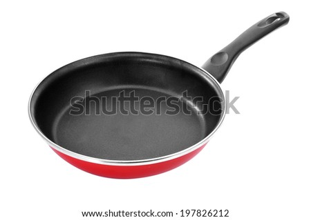 a non-stick frying pan on a white background