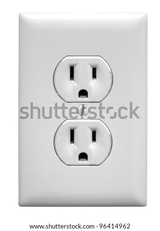 A north american electrical outlaet isolated on a white background.