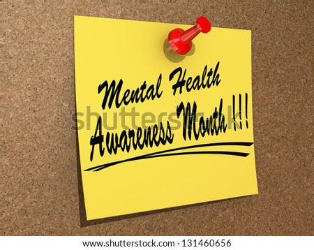 "A note pinned to a cork board with the text ""Mental Health Awareness Month"" - stock photo"