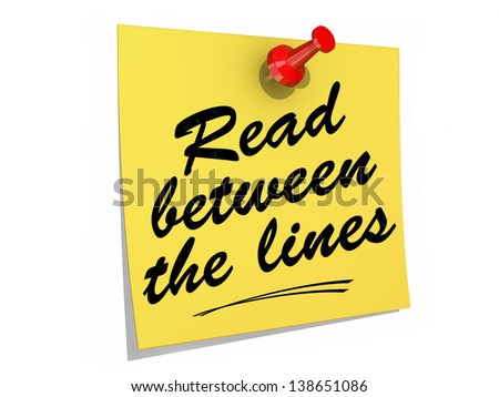 A note pinned to a white background with the text Read Between the Lines. - stock photo