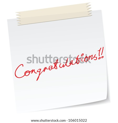 a note with 'congratulations' message, handwritten texts.