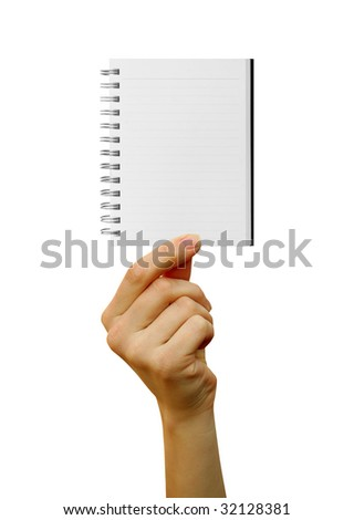 a notebook  in a hand