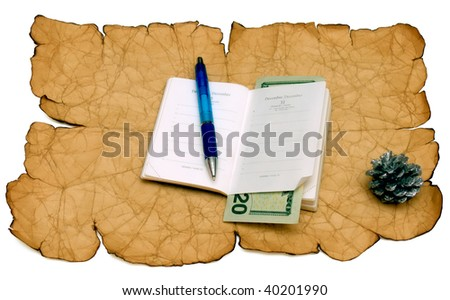 A notebook of pen is 20 dollars on a old paper background. - stock photo