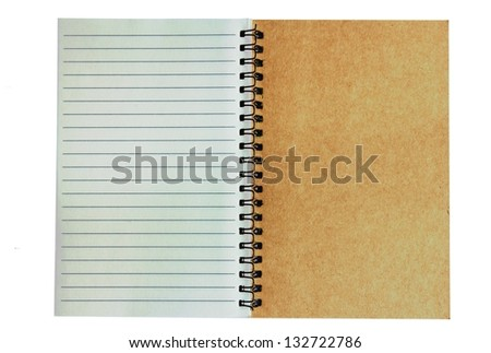A notebook opened with white background