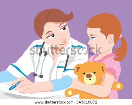 A nurse smiling to a girl with a teddy bear.