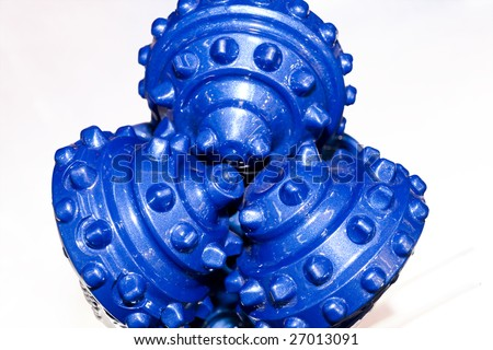 a oil field cone Rock Bit on white background - stock photo
