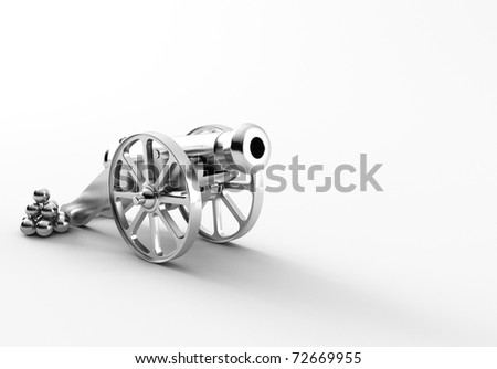 a old 3d maded cannon / artillery - stock photo