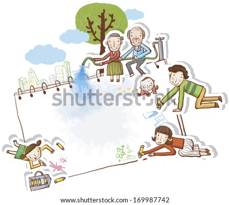 A old man and woman sits on top of a bookbinder while the other people are drawing. - stock photo