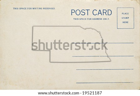 A old postcard with a Nebraska state map outline. Dirt and scratches at 100%.