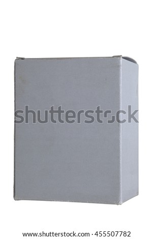 A old small cardboard box isolated on white background - stock photo