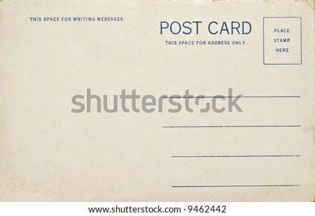 A old vintage blank postcard. Dirt and scratches at 100%. - stock photo