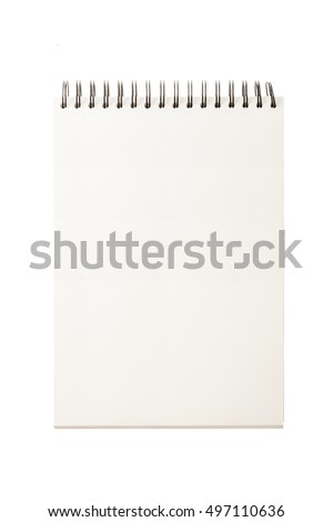 A old(vintage) empty(blank) ring binding note isolated white.