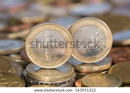 A one Euro coin from the EU member country Cyprus - stock photo