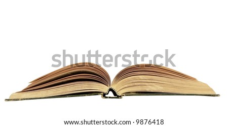 a opened book isolated with copy space via clipping path on a white background