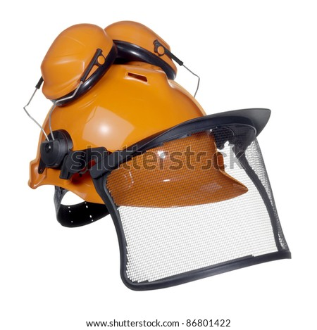 a orange protective helmet with ear- and face- protection. Studio shot in white back - stock photo