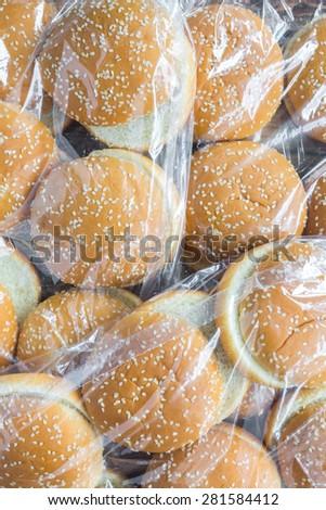 A pack of hamburger buns - stock photo