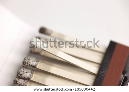 A pack of matches with all but one burnt. - stock photo