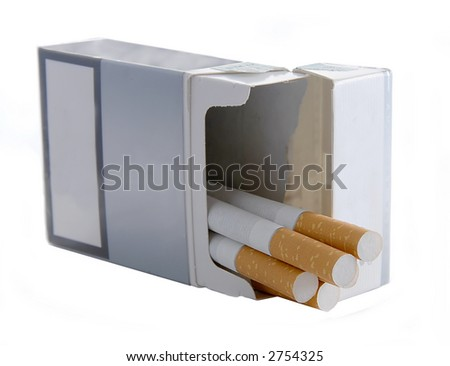 A packet of cigarettes on white background - stock photo