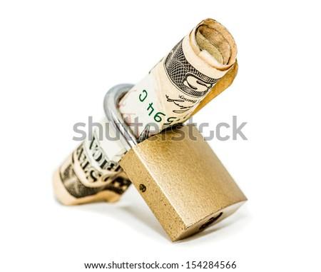 A padlock holding 10 dollar  locked up isolated on white background - stock photo